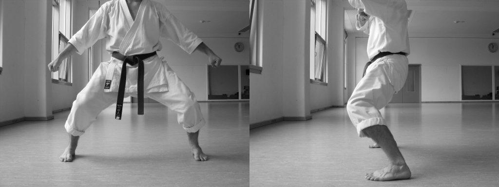 Abb. 5: Kiba Dachi mit nach vorne gerichteten Kniescheiben Ergänzung: Man darf sich mit dem Oberkörper sogar leicht nach vorne neigen, um selbst das Bisschen Hohlkreuz (hier nicht zu sehen) zu vermeiden.